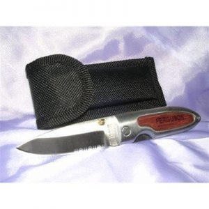 Rosewood Lockback Knife with Pouch